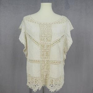3 for $20- Democracy Boho White Lace Tunic Top